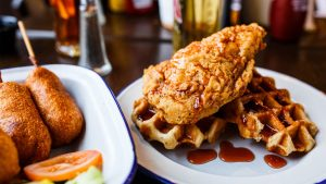 Chicken and Waffles - American BBQ Smokehouse restaurant