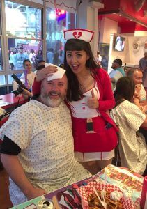 With a nurse waitress at the Heart Attack Grill in Vegas!