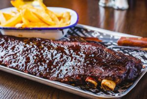 Delicious American barbecue beef sheet ribs
