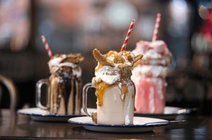 Delicious American desserts and freakshakes
